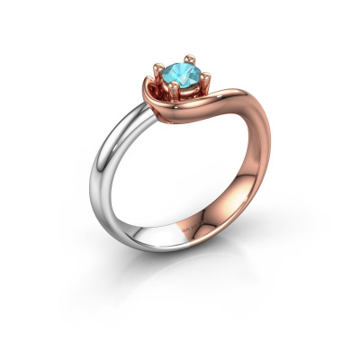 Ring Lot 585 rosé goud blauw topaas 4 mm
