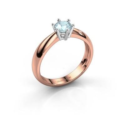 Verlovingsring Fay 585 rosé goud aquamarijn 5 mm