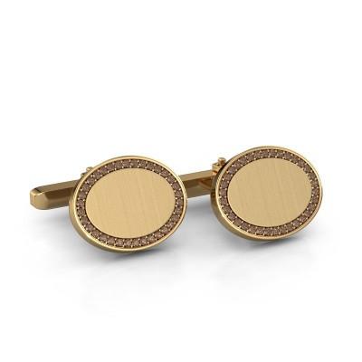 Foto van Manchetknopen Richano 585 goud bruine diamant 0.51 crt