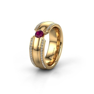 Wedding ring WHR0575L 375 gold rhodolite ±7x2 mm