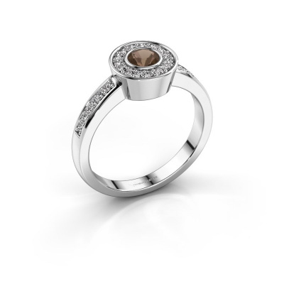 Ring Adriana 2 950 platina rookkwarts 4 mm