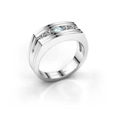 Picture of Men's ring Huub 950 platinum aquamarine 3.7 mm