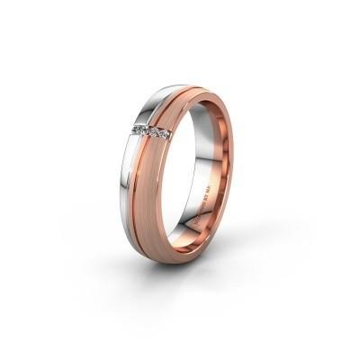 Huwelijksring WH0909L25X 585 rosé goud lab-grown diamant ±5x1.5 mm