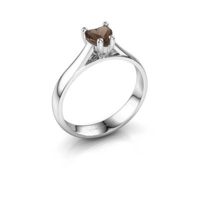 Engagement ring Sam Heart 925 silver smokey quartz 5 mm