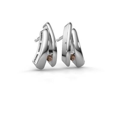 Picture of Earrings Liesel 925 silver smokey quartz 2 mm