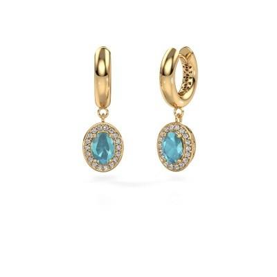 Oorhangers Annett 585 goud blauw topaas 7x5 mm