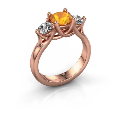 Engagement ring Esila 585 rose gold citrin 6.5 mm