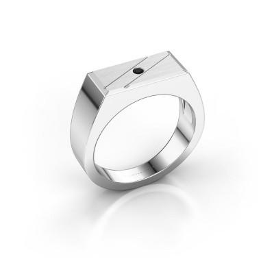 Herrenring Dree 3 925 Silber Schwarz Diamant 0.036 crt