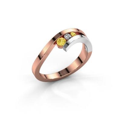 Foto van Ring Evalyn 2 585 rosé goud gele saffier 2.8 mm