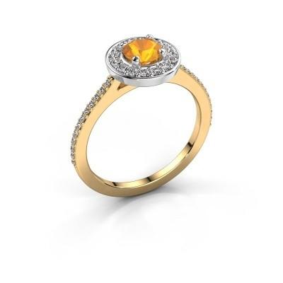 Ring Agaat 2 585 gold citrin 5 mm