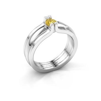 Foto van Ring Jade 925 zilver gele saffier 4 mm