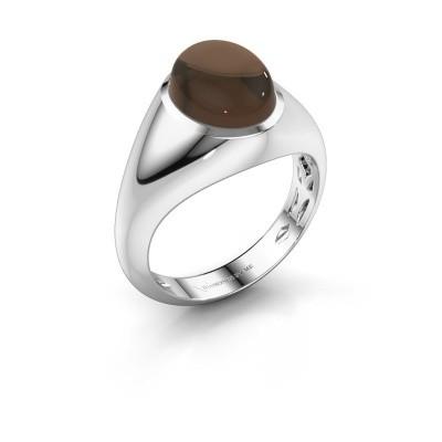 Ring Zaza 950 platina rookkwarts 10x8 mm