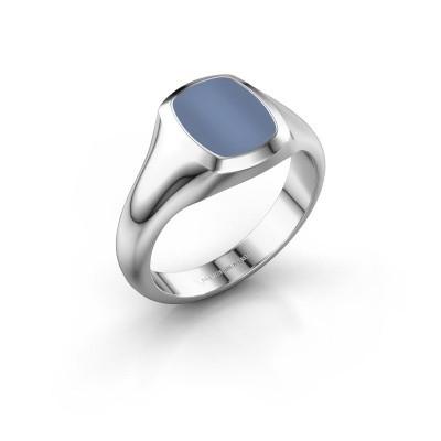Zegelring Benjamin 1 F 375 witgoud licht blauwe lagensteen 10x8 mm