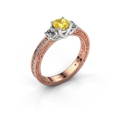 Foto van Verlovingsring Betty 2 585 rosé goud gele saffier 5 mm