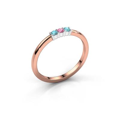 Verlovings ring Yasmin 3 585 rosé goud roze saffier 2 mm