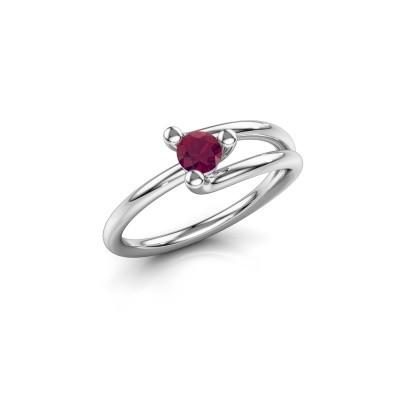 Engagement ring Roosmarijn 585 white gold rhodolite 4 mm