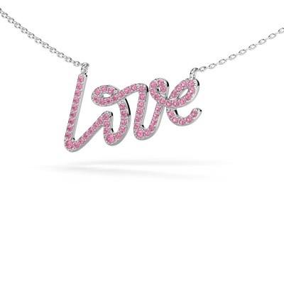 Hanger Love 585 witgoud roze saffier 1 mm