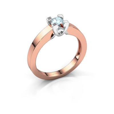 Verlovingsring Nina 1 585 rosé goud aquamarijn 3.7 mm