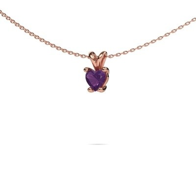 Picture of Necklace Sam Heart 375 rose gold amethyst 5 mm
