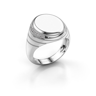 Zegelring Luuk 375 witgoud witte emaille 15x12 mm