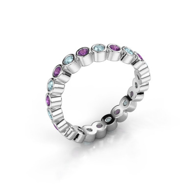 Ring Liz 585 witgoud amethist 2 mm