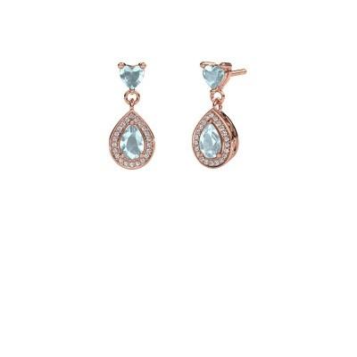Picture of Drop earrings Susannah 375 rose gold aquamarine 6x4 mm