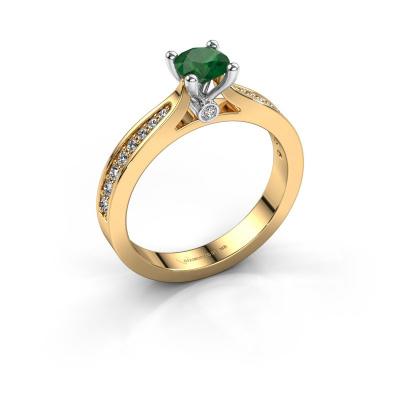 Verlovingsring Evelien 585 goud smaragd 5 mm