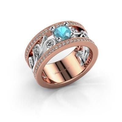 Foto van Ring Sanne 585 rosé goud blauw topaas 5 mm