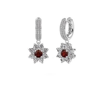 Picture of Drop earrings Geneva 2 585 white gold garnet 4.5 mm