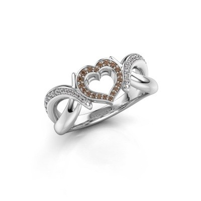 Ring Earlie 2 950 platina bruine diamant 0.244 crt