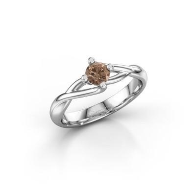 Foto van Ring Paulien 950 platina bruine diamant 0.30 crt