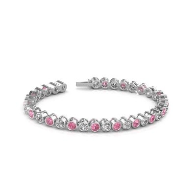 Photo de Bracelet tennis Allegra 585 or blanc saphir rose 4 mm