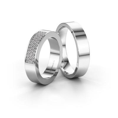 Foto van Trouwringen set WHR0289LM15AP ±5x2.3 mm 14 karaat witgoud diamant 0.007 crt