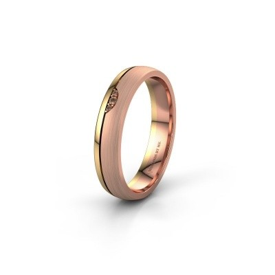 Wedding ring WH0334L24X 585 rose gold brown diamond ±4x1.5 mm