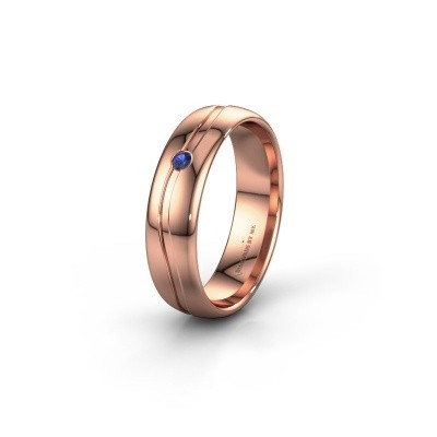 Wedding ring WH0905L35X 585 rose gold sapphire ±5x1.7 mm