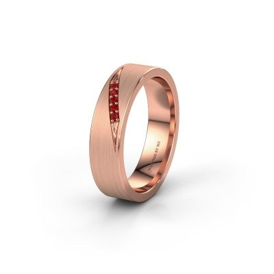 Trouwring WH2148L25AM 375 rosé goud robijn ±5x1.7 mm