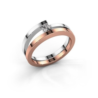 Ring Sandy 585 rosé goud zirkonia 3.4 mm
