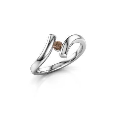Foto van Ring Amy 925 zilver bruine diamant 0.10 crt