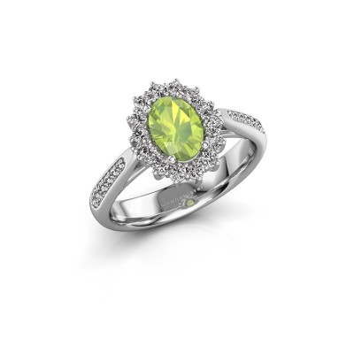 Engagement ring Margien 2 925 silver peridot 7x5 mm