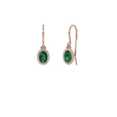 Picture of Drop earrings Seline ovl 375 rose gold emerald 6x4 mm