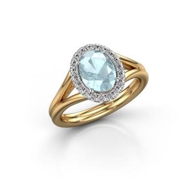 Engagement ring Rachele 1 585 gold aquamarine 8x6 mm