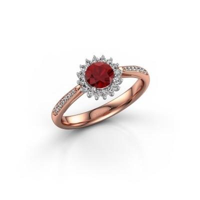 Foto van Verlovingsring Mariska 2 585 rosé goud robijn 5 mm