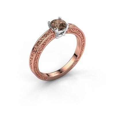 Verlovingsring Claudette 1 585 rosé goud bruine diamant 0.50 crt