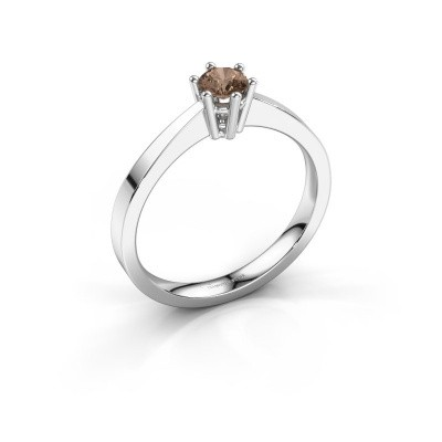 Engagement ring Noortje 585 white gold brown diamond 0.25 crt