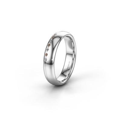 Friendship ring WH2144L34A 950 platinum brown diamond ±0.16x0.07 in