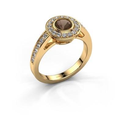 Verlovingsring Raven 1 375 goud rookkwarts 5 mm
