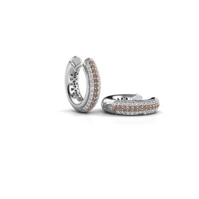Foto van Creolen Tristan B 14 mm 585 witgoud bruine diamant 0.322 crt