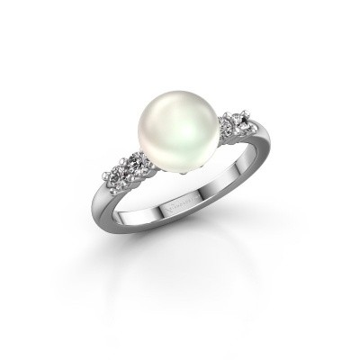 Foto van Ring Cecile 585 witgoud witte parel 8 mm