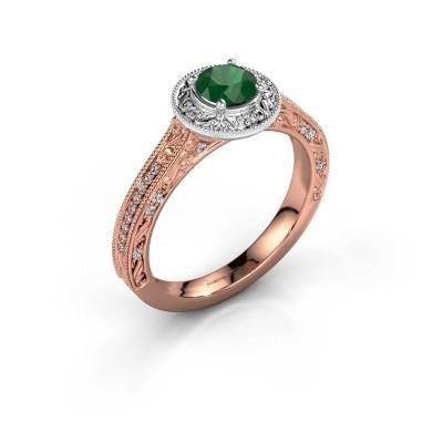 Verlovings ring Alice RND 585 rosé goud smaragd 5 mm