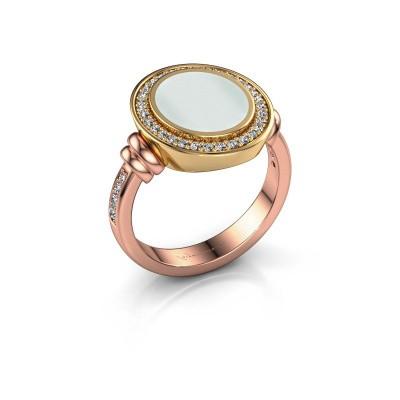 Zegelring Servie 2 585 rosé goud groene lagensteen 12x10 mm